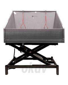 Elektrisch RVS bad 120x60 met hoge spatwand